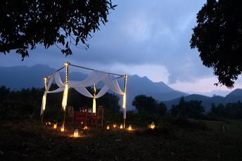 Romantic dinner amongst rice paddy fields