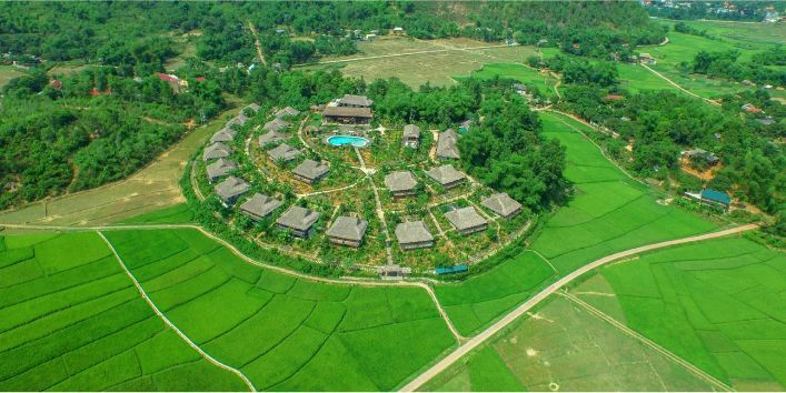 Mai Chau Ecolodge from above